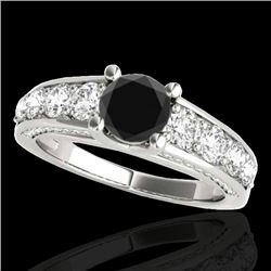 2.55 CTW Certified VS Black Diamond Solitaire Ring 10K White Gold - REF-149H3M - 35510