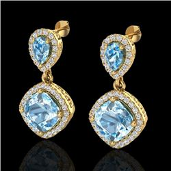 7 CTW Sky Blue Topaz & Micro VS/SI Diamond Certified Earrings Halo 10K Yellow Gold - REF-74R9K - 202