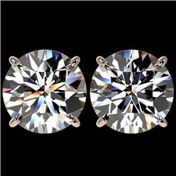 5 CTW Certified H-SI/I Quality Diamond Solitaire Stud Earrings 10K Rose Gold - REF-1740F2N - 33143