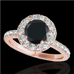 2 CTW Certified VS Black Diamond Solitaire Halo Ring 10K Rose Gold - REF-87Y5X - 33449