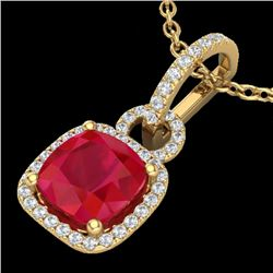 3 CTW Ruby & Micro VS/SI Diamond Certified Necklace 18K Yellow Gold - REF-76A4V - 22989