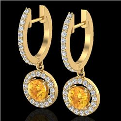 1.75 CTW Citrine & Micro Pave Halo VS/SI Diamond Earrings 18K Yellow Gold - REF-82M7F - 23250