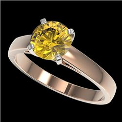 1.50 CTW Certified Intense Yellow SI Diamond Solitaire Ring 10K Rose Gold - REF-216N3A - 33028
