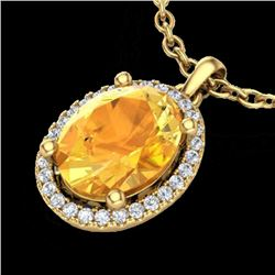 2.50 CTW Citrine & Micro Pave VS/SI Diamond Necklace Halo 18K Yellow Gold - REF-44N4A - 21077