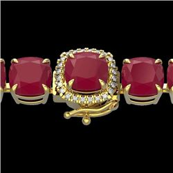 46 CTW Ruby & Micro Pave VS/SI Diamond Halo Designer Bracelet 14K Yellow Gold - REF-254R5K - 23323