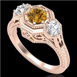 1.05 CTW Intense Fancy Yellow Diamond Art Deco 3 Stone Ring 18K Rose Gold - REF-161V8Y - 37953