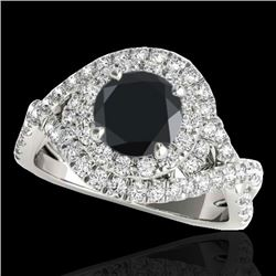 2 CTW Certified VS Black Diamond Solitaire Halo Ring 10K White Gold - REF-98Y7X - 33876