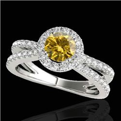 2 CTW Certified SI/I Fancy Intense Yellow Diamond Solitaire Halo Ring 10K White Gold - REF-231K8W -
