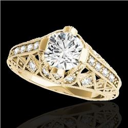 1.25 CTW H-SI/I Certified Diamond Solitaire Antique Ring 10K Yellow Gold - REF-207H3M - 34686