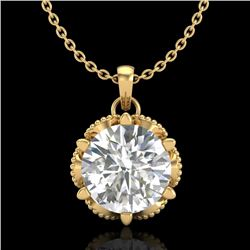 1.36 CTW VS/SI Diamond Solitaire Art Deco Necklace 18K Yellow Gold - REF-361F8N - 37246