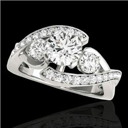 1.76 CTW H-SI/I Certified Diamond Bypass Solitaire Ring 10K White Gold - REF-289K3W - 35036
