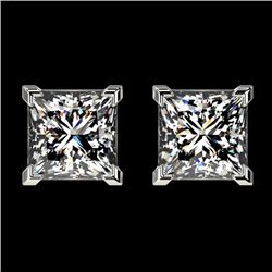 2 CTW Certified VS/SI Quality Princess Diamond Stud Earrings 10K White Gold - REF-585A2V - 33094