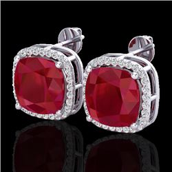 12 CTW Ruby & Micro Pave Halo VS/SI Diamond Earrings Solitaire 18K White Gold - REF-158W2H - 23066