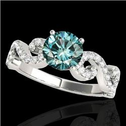 1.40 CTW SI Certified Fancy Blue Diamond Solitaire Ring 10K White Gold - REF-162X4R - 35246