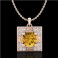 1.02 CTW Intense Fancy Yellow Diamond Art Deco Stud Necklace 18K Rose Gold - REF-143K6W - 38170