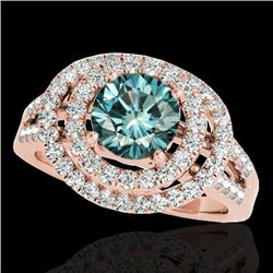 1.75 CTW SI Certified Fancy Blue Diamond Solitaire Halo Ring 10K Rose Gold - REF-200F2N - 34289