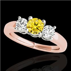 2 CTW Certified SI/I Fancy Intense Yellow Diamond 3 Stone Solitaire Ring 10K Rose Gold - REF-349H8M