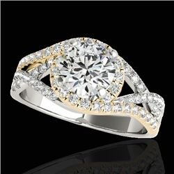 2 CTW H-SI/I Certified Diamond Solitaire Halo Ring 10K White & Yellow Gold - REF-345M5F - 33841