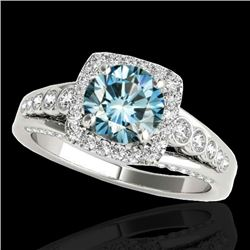 2 CTW SI Certified Blue Diamond Solitaire Halo Ring 10K White Gold - REF-247A3V - 34324