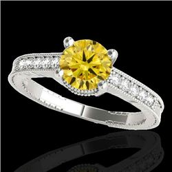 1.45 CTW Certified SI Intense Yellow Diamond Solitaire Antique Ring 10K White Gold - REF-200Y2X - 34