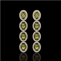 5.88 CTW Tourmaline & Diamond Earrings Rose Gold 10K Rose Gold - REF-121N3A - 40917