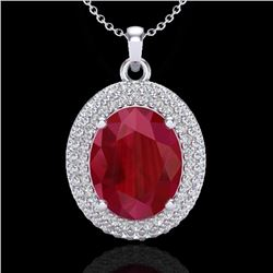 4.50 CTW Ruby & Micro Pave VS/SI Diamond Certified Necklace 18K White Gold - REF-120V9Y - 20571