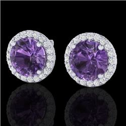 4 CTW Amethyst & Halo VS/SI Diamond Micro Pave Earrings Solitaire 18K White Gold - REF-65V8Y - 21477