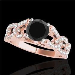 1.50 CTW Certified VS Black Diamond Solitaire Ring 10K Rose Gold - REF-78W4H - 35218