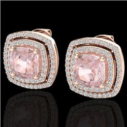 3.95 CTW Morganite & Micro Pave VS/SI Diamond Halo Earrings 14K Rose Gold - REF-106R2K - 20167