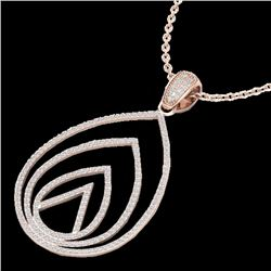 1.25 CTW Micro Pave VS/SI Diamond Certified Designer Necklace 14K Rose Gold - REF-109A3V - 22480