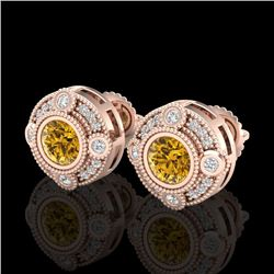 1.50 CTW Intense Fancy Yellow Diamond Art Deco Stud Earrings 18K Rose Gold - REF-178N2A - 37701