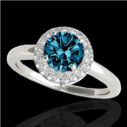 1.43 CTW SI Certified Fancy Blue Diamond Solitaire Halo Ring 10K White Gold - REF-169M3F - 33666