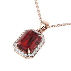 6 CTW Garnet And Micro Pave VS/SI Diamond Certified Halo Necklace 14K Rose Gold - REF-50F9N - 21360