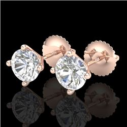1.50 CTW VS/SI Diamond Solitaire Art Deco Stud Earrings 18K Rose Gold - REF-309W3H - 37302