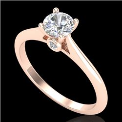 0.56 CTW VS/SI Diamond Solitaire Art Deco Ring 18K Rose Gold - REF-106K7W - 37281