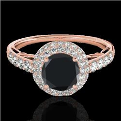 1.65 CTW Certified VS Black Diamond Solitaire Halo Ring 10K Rose Gold - REF-86F5N - 33701