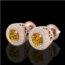 1.55 CTW Intense Fancy Yellow Diamond Art Deco Stud Earrings 18K Rose Gold - REF-169Y3X - 37659