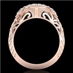 1.06 CTW VS/SI Diamond Solitaire Art Deco 3 Stone Ring 18K Rose Gold - REF-180W2H - 36894