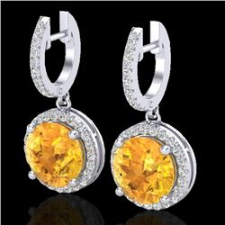 4 CTW Citrine & Micro Pave VS/SI Diamond Certified Designer Halo 18K White Gold - REF-87H8M - 23178