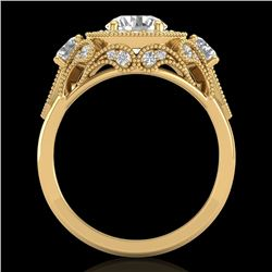 2.11 CTW VS/SI Diamond Solitaire Art Deco 3 Stone Ring 18K Yellow Gold - REF-472R7K - 37330