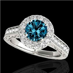 1.70 CTW SI Certified Fancy Blue Diamond Solitaire Halo Ring 10K White Gold - REF-178M2F - 33729