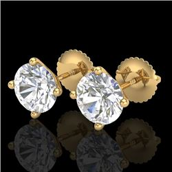 2.5 CTW VS/SI Diamond Solitaire Art Deco Stud Earrings 18K Yellow Gold - REF-668R2K - 37309