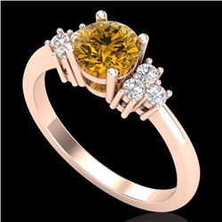 1 CTW Intense Fancy Yellow Diamond Engagement Classic Ring 18K Rose Gold - REF-130F9N - 37596