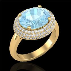 4 CTW Aquamarine & Micro Pave VS/SI Diamond Certified Ring 18K Yellow Gold - REF-125H3M - 20906