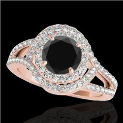 1.90 CTW Certified VS Black Diamond Solitaire Halo Ring 10K Rose Gold - REF-98M7F - 34391