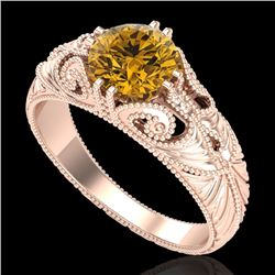 1 CTW Intense Fancy Yellow Diamond Engagement Art Deco Ring 18K Rose Gold - REF-204F5N - 37533