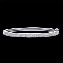 1.50 CTW Micro Pave VS/SI Diamond Certified Bangle Bracelet 14K White Gold - REF-176X2R - 20034