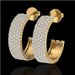 4.50 CTW Micro Pave VS/SI Diamond Certified Earrings 14K Yellow Gold - REF-292W5H - 20175