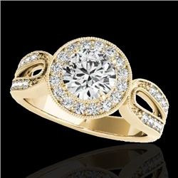 1.40 CTW H-SI/I Certified Diamond Solitaire Halo Ring 10K Yellow Gold - REF-180W2H - 34560