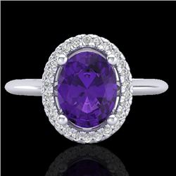 1.75 CTW Amethyst & Micro VS/SI Diamond Ring Solitaire Halo 18K White Gold - REF-43N6A - 20998